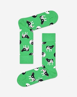Skarpetki –  krowy Yin Yang, zielone