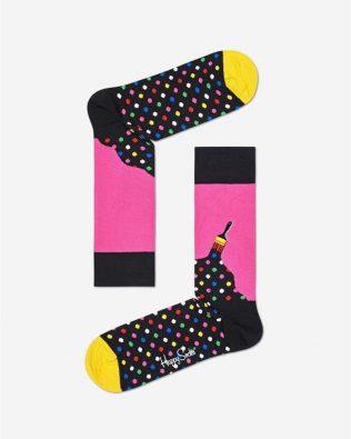 Skarpetki – malowanie, różowo-czarne w kropki