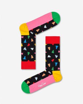 Skarpetki – kolorowe choinki, czarno-różowe