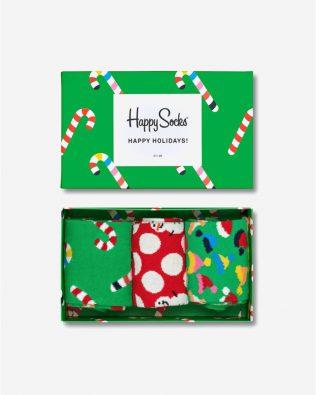 Skarpetki zestaw – świąteczne wzory, czerwono-zielone