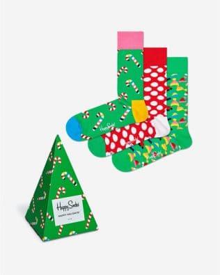 Skarpetki zestaw – świąteczne czapeczki i laski, czerwono-zielone