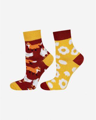 Skarpetki – lis, kura i jajko, żółto-brązowe