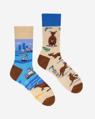 Skarpetki – kangury, beżowo-niebieskie