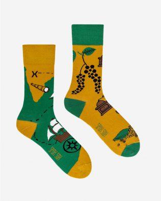 Skarpetki – łódź i lornetka, zielono-żółte