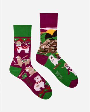 Skarpetki – lamy, zielono-fioletowe