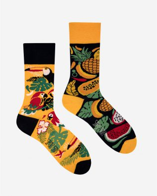 Skarpetki – tropikalne wzory, żółto-czarne