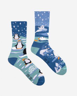 Skarpetki – pingwiny i niedźwiadki, niebieskie