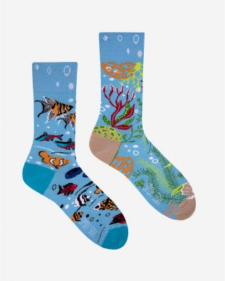 Skarpetki – rybki w akwarium, niebieskie
