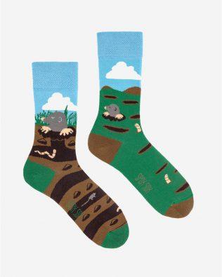Skarpetki – krecik, zielono-brązowe