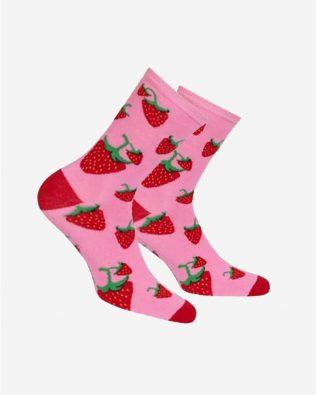 Skarpetki – truskawki, różowe