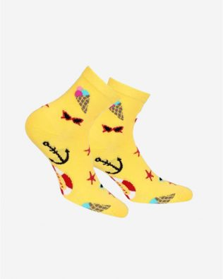 Skarpetki – kotwice i lody, żółte