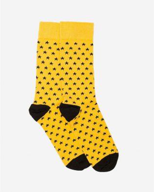 Skarpetki – czarne gwiazdki, żółte