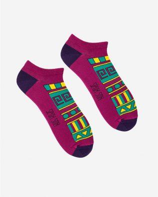 Skarpetki stopki – meksykański wzór, bordowe