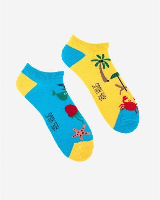 Skarpetki stopki – wakacje, żółto-niebieskie
