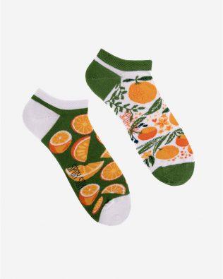 Skarpetki stopki – pomarańcze, biało-zielone