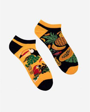 Skarpetki stopki – tropikalny wzór, pomarańczowo-czarne