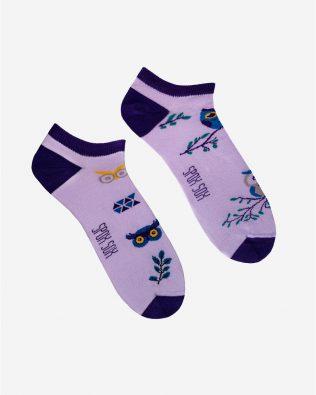 Skarpetki stopki – sowy, fioletowe