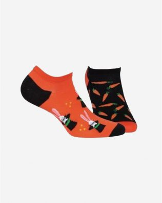 Skarpetki – zając z marchewką, pomarańczowo-czarne