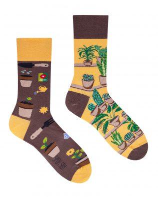 Skarpetki – roślinki, brązowo-żółte