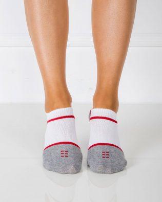 Skarpetki stopki – biało-czerwono-szare