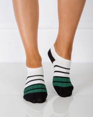 Skarpetki stopki – paski, biało-czarno-zielone