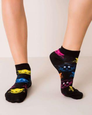 Skarpetki stopki – kolorowe kotki, czarne