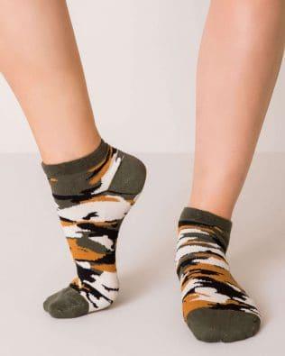 Skarpetki stopki – militarny wzór, khaki