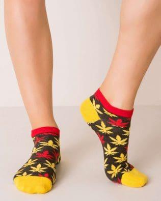 Skarpetki stopki – żółto-czerwone liście, khaki