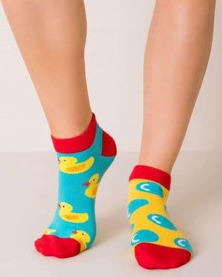 Skarpetki stopki – kaczuszki, niebiesko-żółte