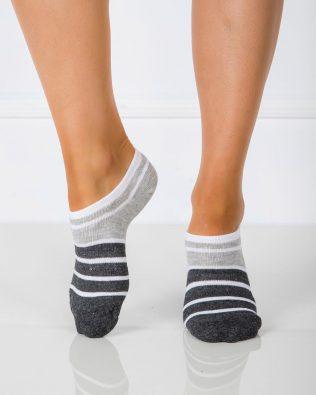 Skarpetki stopki – paski, biało-szare