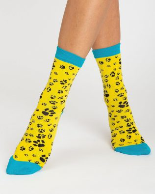 Skarpetki – kocie łapki, żółte
