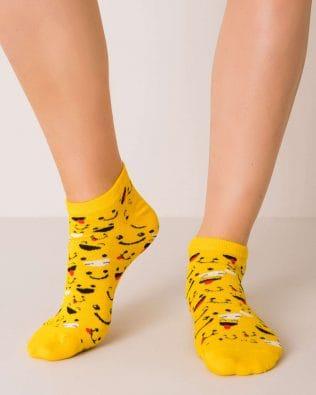 Skarpetki stopki – wesołe minki, żółte