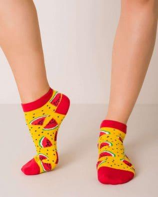 Skarpetki stopki – arbuzy, żółte