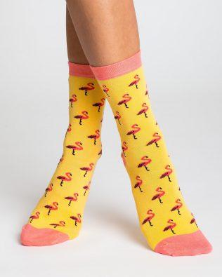Skarpetki – flamingi, żółto-brzoskwiniowe