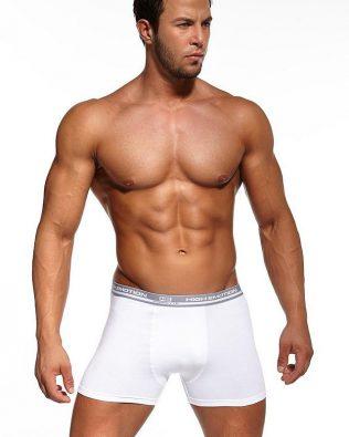Bokserki męskie – gładkie, białe z szarym paskiem
