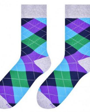 Skarpetki – romby, fioletowo-zielono-niebieskie