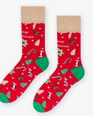 Skarpetki – świąteczne wzory, czerwone