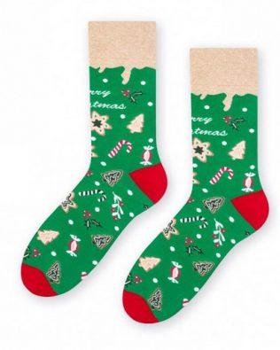 Skarpetki – świąteczne wzory, zielone