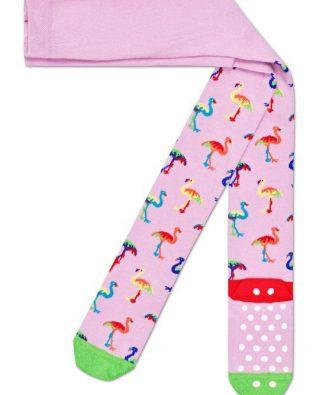 Rajstopy – kolorowe flamingi, różowe antypoślizgowe