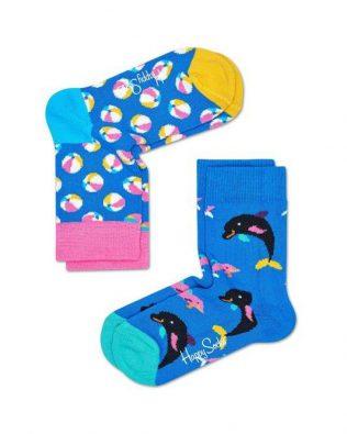 Skarpetki – 2-pak, piłki i delfiny, niebieskie