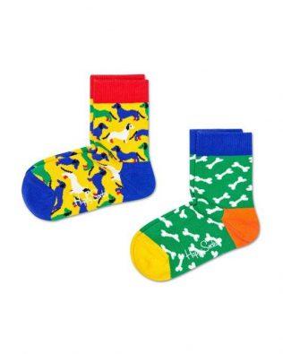 Skarpetki – 2-pak, pieski i kości, zielono-żółte