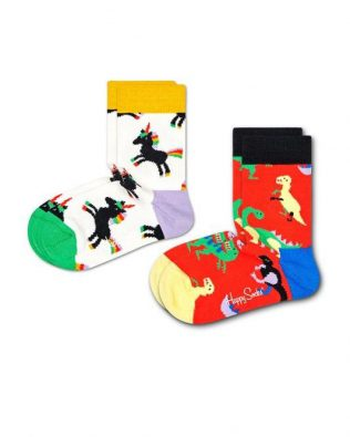 Skarpetki – 2-pak, dinozaury i jednorożce, biało-czerwone
