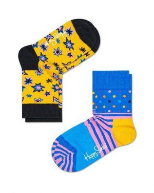 Skarpetki – 2-pak, gwiazdki i paski, żółto-niebieskie