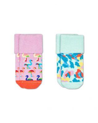 Skarpetki – 2-pak, flamingi, różowo-zielone