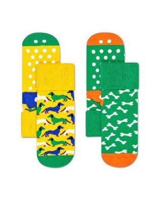 Skarpetki – 2-pak, pieski i kostki, zielono-żółte antypoślizgowe