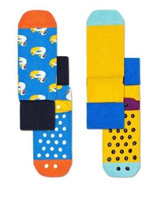 Skarpetki – 2-pak, łabędzie, żółto-niebieskie antypoślizgowe