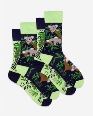 Skarpetki – 2-pak, miś koala, zielono-czarne