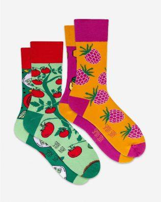 Skarpetki – 2-pak, pomidory i miód-malina, kolorowe