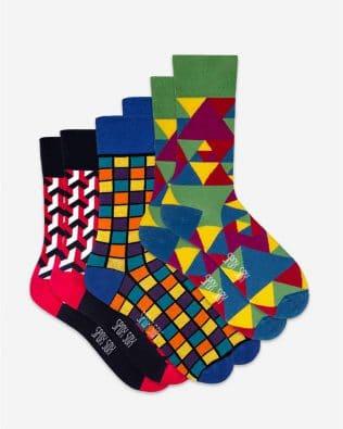 Skarpetki – 3-pak, geometryczne, kolorowe