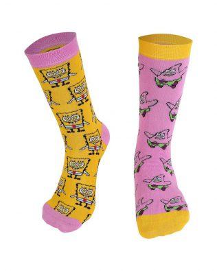 Skarpetki – SpongeBob i Patryk, różowo-żółte